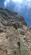 Rock Climbing Photo: View up the route, from belay station on Hundred A...