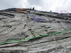 Rock Climbing Photo: Looking up at Sweeney's Edge and FJL from the top ...