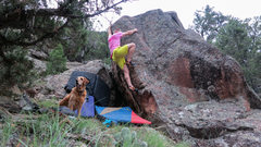 Rock Climbing Photo: Approaching the mantle sequence of Vertical Pulse.
