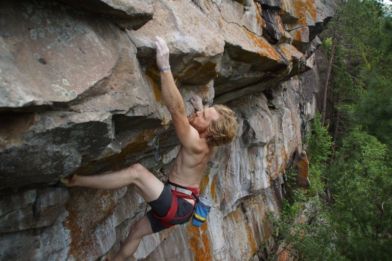 Tyler at the slopper crux.