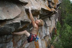 Rock Climbing Photo: Tyler at the slopper crux.