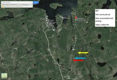 Rock Climbing Photo: Beta map; RED is the gravel pit - park there. BLUE...