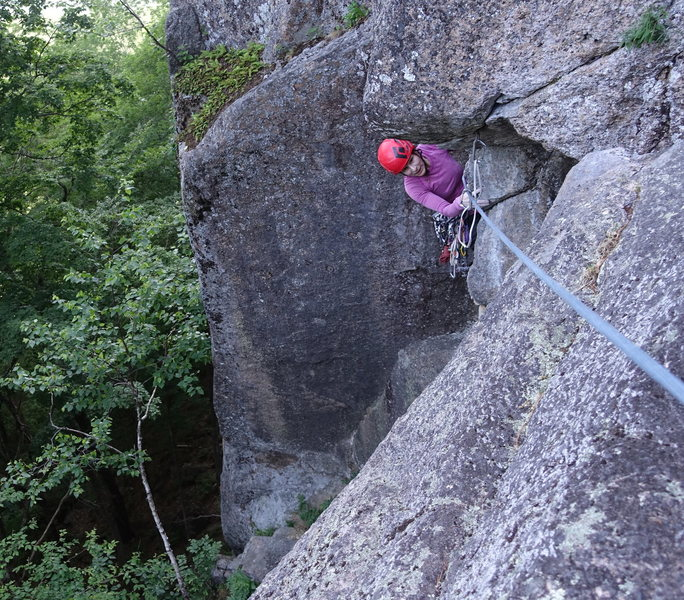 Gail B following the crux. Much easier for me, I'm taller.