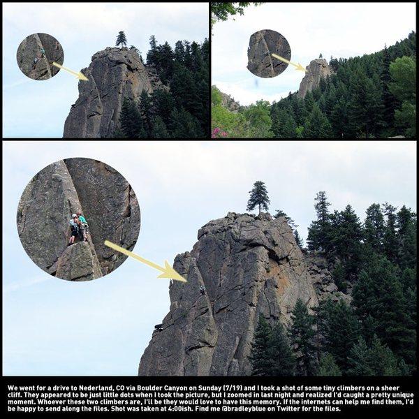 Rock Climbing Photo: Kissing climbers on Cob Rock between Boulder and N...