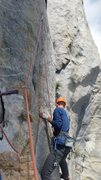 Rock Climbing Photo: Vitaliy sets up for the boulder problem on P13
