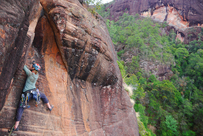 Rock Climbing Photo: Dan Jerke pulling through the exposed finale on P2...