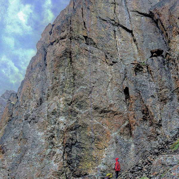 Rock Climbing Photo: Jess wearing five layers (including two puffies) t...