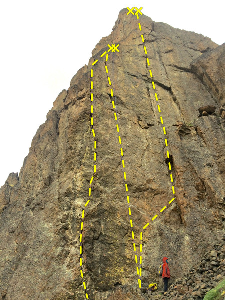 The three routes on The Wedge's 1st tower (left to right): Sodom & Gomorrah (5.10- R), Nineveh (5.11a), Great Expectations (5.11c/d)