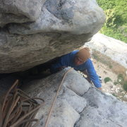 Rock Climbing Photo: Josh squirming his way to the top of this fun pitc...