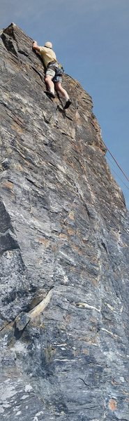 Rock Climbing Photo: Paul Naepflin tops out on Sunset Face Left.  5.9 s...