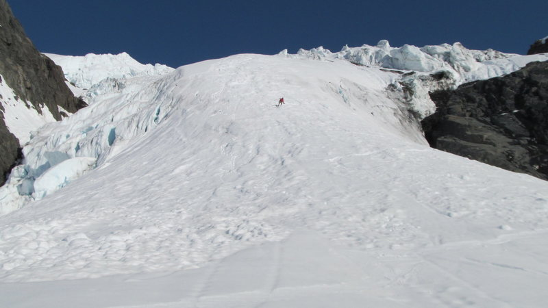 Kevin Salys skiing the ice fall.