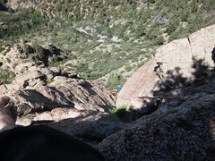 Rock Climbing Photo: Robin following the final slab just before the bel...