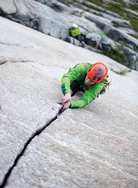"""Higher Calling: Untouched, Pristine Granite Domes in Norway"" article from Climbing Magazine. This is the epic Pitch 3 crack...but its all pretty good."