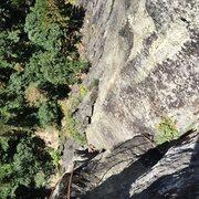 Rock Climbing Photo: Daryl following pitch 3, the crux pitch.