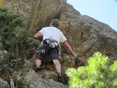 """Rock Climbing Photo: Mark getting in position for the """"slot squeez..."""