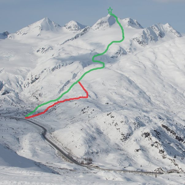 Green- winter ascent route<br> Red-pipeline road
