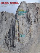 Rock Climbing Photo: Route Overlay for Mithral Dihedral.