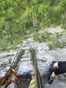 Rock Climbing Photo: Looking down from the 2nd pitch anchors.