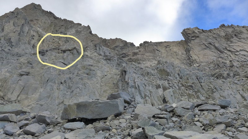 The dark black band was letting loose on 23 Jul. It's just to the right of Underhill Couloir.