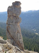 Rock Climbing Photo: Bullhorn, with the north face and route shown.