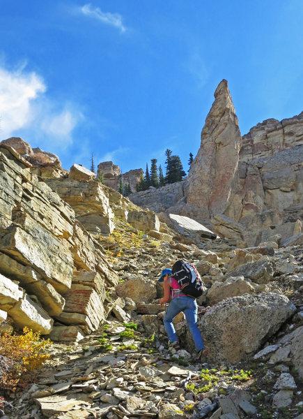 Rock Climbing Photo: Emily approaches the Bullhorn.