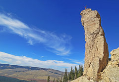 Rock Climbing Photo: T-Bow atop the Bullhorn, FA. Picture by Emily Rein...