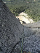 Rock Climbing Photo: Looking down the killer corner of pitch 4