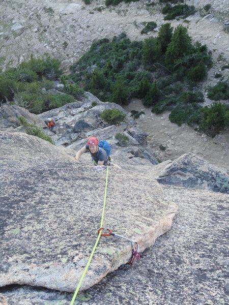 Matt climbing up zig zag flakes.  Fun!