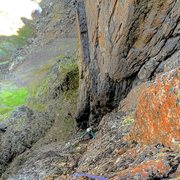 Rock Climbing Photo: Jess out of the chimney and nearing the top of Boo...
