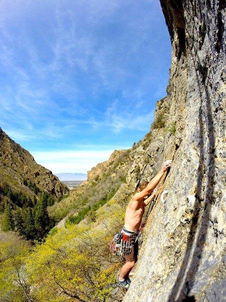 Necrobestiality (5.11b) - Bug Barn Dance Wall - Rock Canyon, Utah