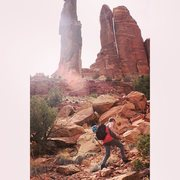 Rock Climbing Photo: Thin Man Pinnacle (5.9 C1) - San Rafael Swell, Uta...