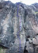 Rock Climbing Photo: The God Machine climbs the arête between Blankety...