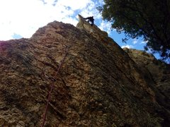 Rock Climbing Photo: Paul after the crux. This climb reminded me of edg...