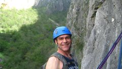 Rock Climbing Photo: Chad Parker at The 2nd belay. The second pitch is ...