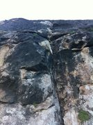 Rock Climbing Photo: Looking up the crack from the bottom of P1