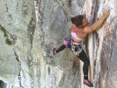 Rock Climbing Photo: Mia leaves the dihedral and begins the airy traver...