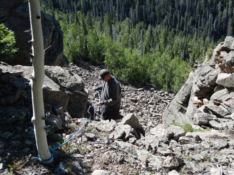 Heading down the approach chute on a fixed line (no equipment needed)
