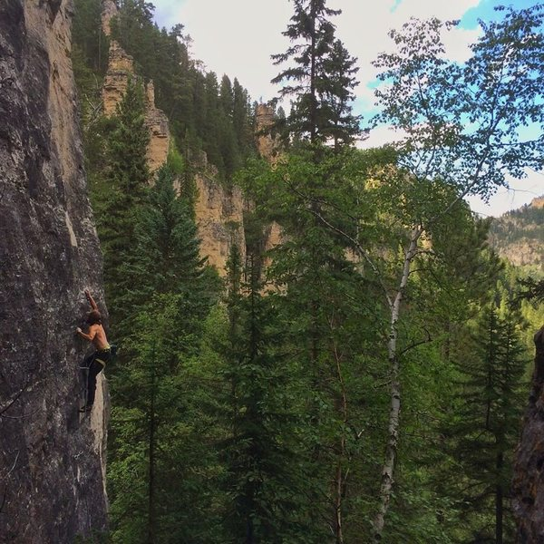 Mark on Gotta Have Faith, 5.12a<br> <br> Photo by Reed Rombough