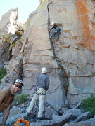 Rock Climbing Photo: Phyllie on the FA.  Please forgive the rappel-in r...