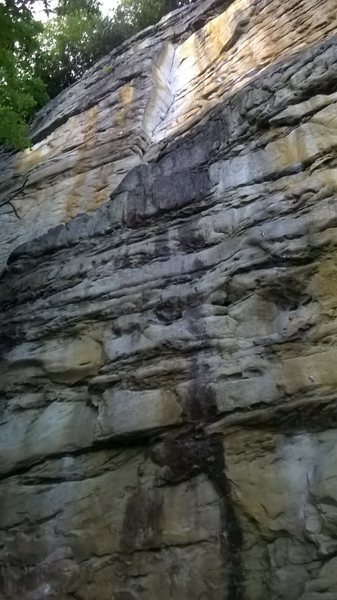Rock Climbing Photo: Looking up from the bottom. The route has bolts pr...