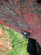 Rock Climbing Photo: Karl following the 5.7 finger crack at the top of ...