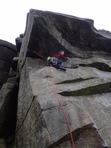 Setting out to do Stomach Traverse HVS 4c, Burbage North.