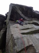 Rock Climbing Photo: Setting out to do Stomach Traverse HVS 4c, Burbage...