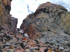 """Rock Climbing Photo: Looking up the """"Black Dike"""" notch that y..."""