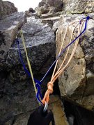 Rock Climbing Photo: The rap anchor right above the 5th class climb out...