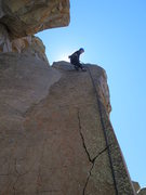 Rock Climbing Photo: Britt on the anchors of Bird of Prey