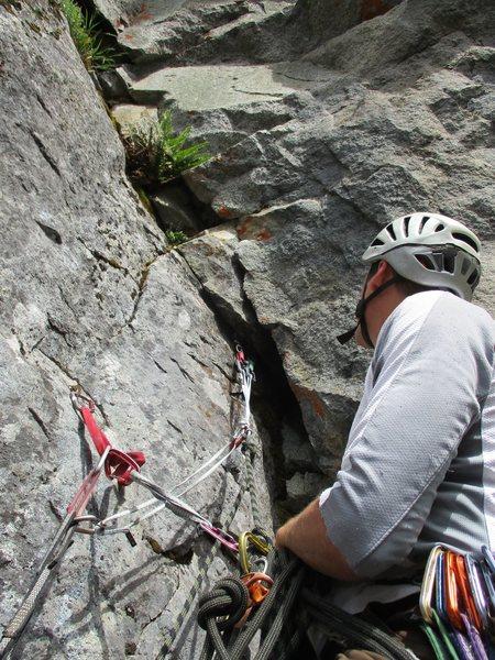 Rock Climbing Photo: Pitch one anchor.