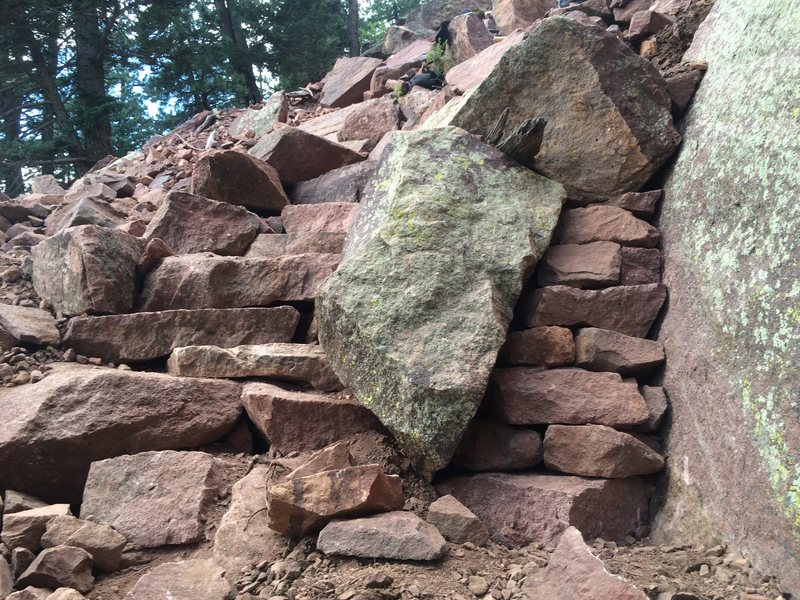 Steps to the left of rock, wall on the right. Here it is, rock in the middle for you.