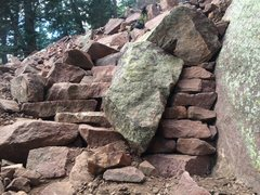 Rock Climbing Photo: Steps to the left of rock, wall on the right. Here...