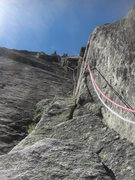 Rock Climbing Photo: Looking up the stellar dihedral 2nd pitch.